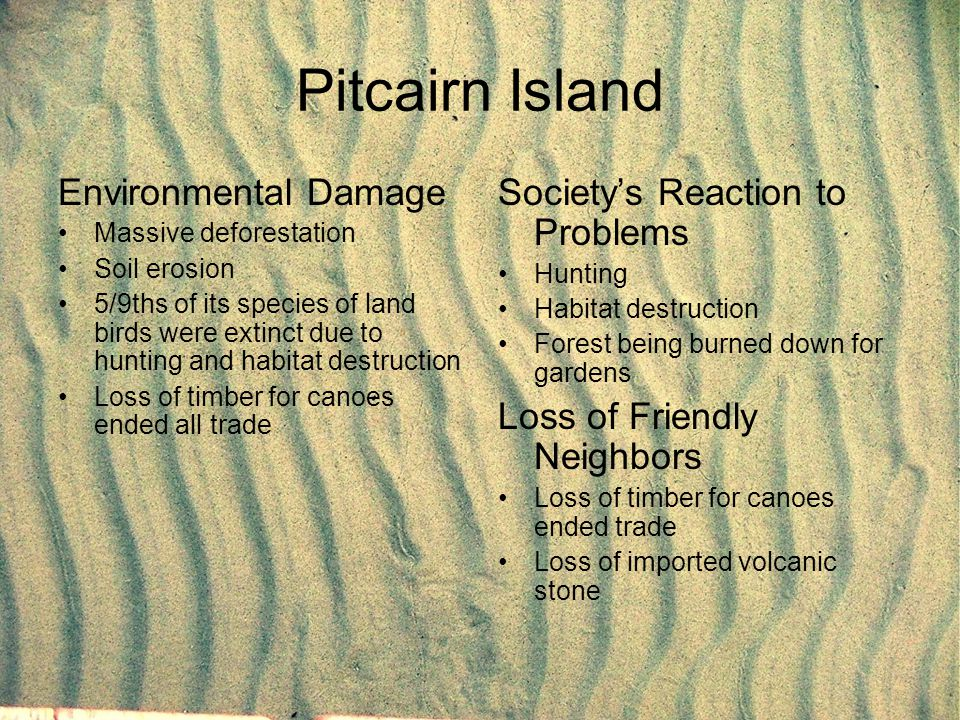 Pitcairn Island Environmental Damage Massive deforestation Soil erosion 5/9ths of its species of land birds were extinct due to hunting and habitat de