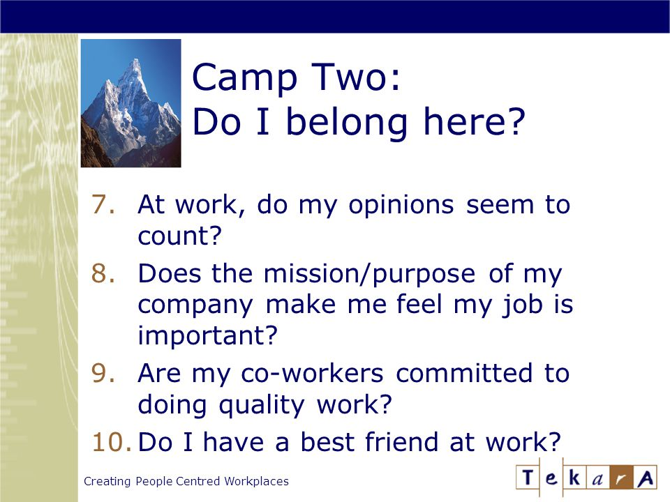 Creating People Centred Workplaces Camp Two: Do I belong here.