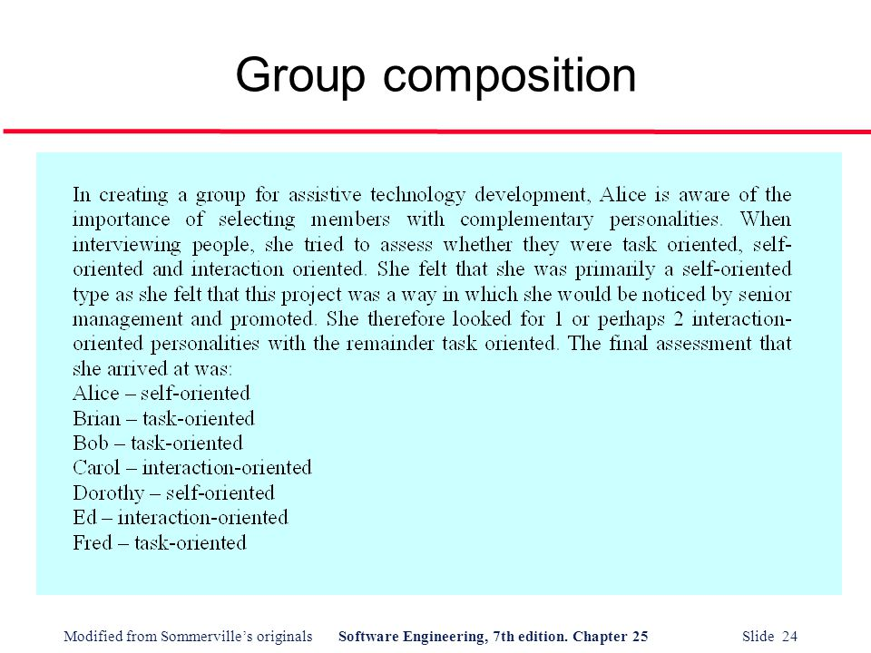Modified from Sommerville's originalsSoftware Engineering, 7th edition. Chapter 25 Slide 24 Group composition