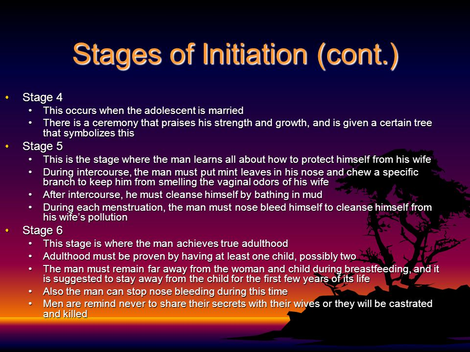 Stages of Initiation (cont.) Stage 4Stage 4 This occurs when the adolescent is marriedThis occurs when the adolescent is married There is a ceremony that praises his strength and growth, and is given a certain tree that symbolizes thisThere is a ceremony that praises his strength and growth, and is given a certain tree that symbolizes this Stage 5Stage 5 This is the stage where the man learns all about how to protect himself from his wifeThis is the stage where the man learns all about how to protect himself from his wife During intercourse, the man must put mint leaves in his nose and chew a specific branch to keep him from smelling the vaginal odors of his wifeDuring intercourse, the man must put mint leaves in his nose and chew a specific branch to keep him from smelling the vaginal odors of his wife After intercourse, he must cleanse himself by bathing in mudAfter intercourse, he must cleanse himself by bathing in mud During each menstruation, the man must nose bleed himself to cleanse himself from his wife's pollutionDuring each menstruation, the man must nose bleed himself to cleanse himself from his wife's pollution Stage 6Stage 6 This stage is where the man achieves true adulthoodThis stage is where the man achieves true adulthood Adulthood must be proven by having at least one child, possibly twoAdulthood must be proven by having at least one child, possibly two The man must remain far away from the woman and child during breastfeeding, and it is suggested to stay away from the child for the first few years of its lifeThe man must remain far away from the woman and child during breastfeeding, and it is suggested to stay away from the child for the first few years of its life Also the man can stop nose bleeding during this timeAlso the man can stop nose bleeding during this time Men are remind never to share their secrets with their wives or they will be castrated and killedMen are remind never to share their secrets with their wives or they will be castrated and killed