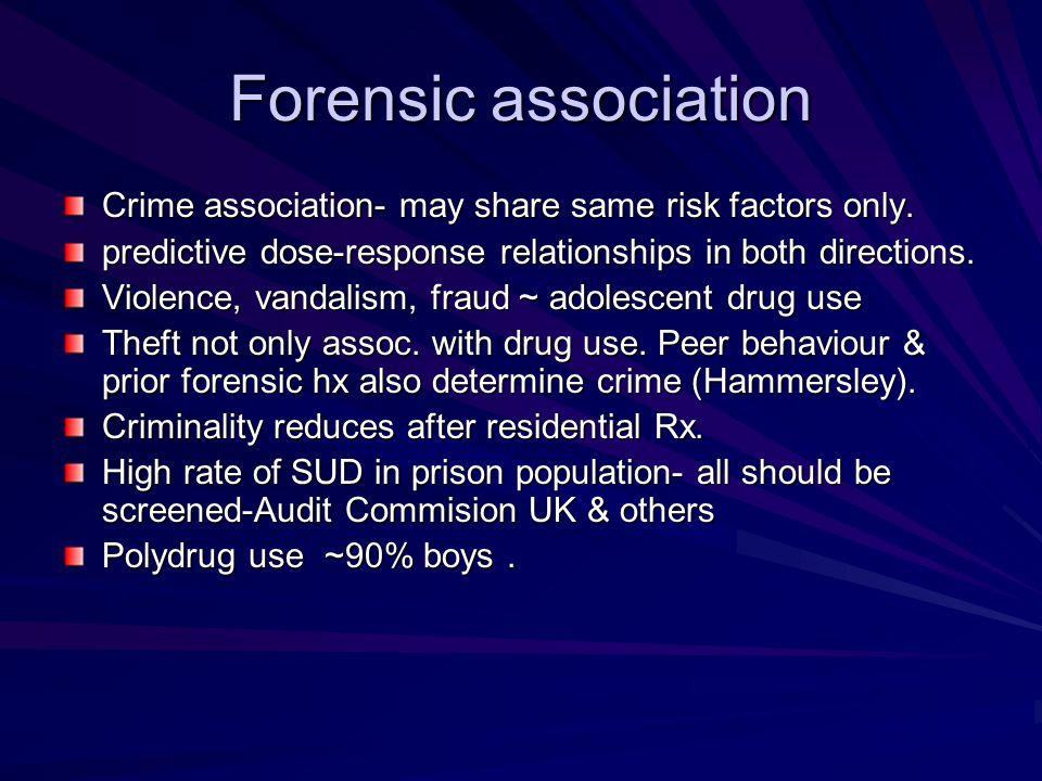 Forensic association Crime association- may share same risk factors only. predictive dose-response relationships in both directions. Violence, vandali