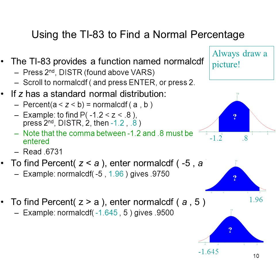 10 Using the TI-83 to Find a Normal Percentage The TI-83 provides a function named normalcdf –Press 2 nd, DISTR (found above VARS) –Scroll to normalcd
