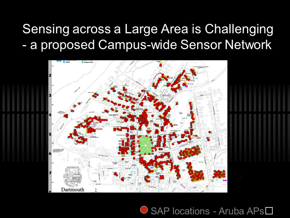 Sensing across a Large Area is Challenging - a proposed Campus-wide Sensor Network SAP locations - Aruba APs