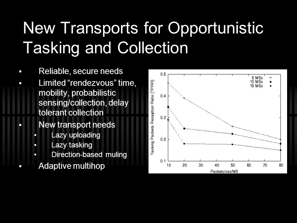 "New Transports for Opportunistic Tasking and Collection Reliable, secure needs Limited ""rendezvous"" time, mobility, probabilistic sensing/collection,"