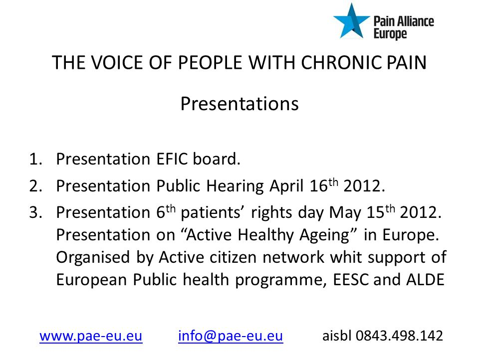 THE VOICE OF PEOPLE WITH CHRONIC PAIN Presentations 1.Presentation EFIC board.
