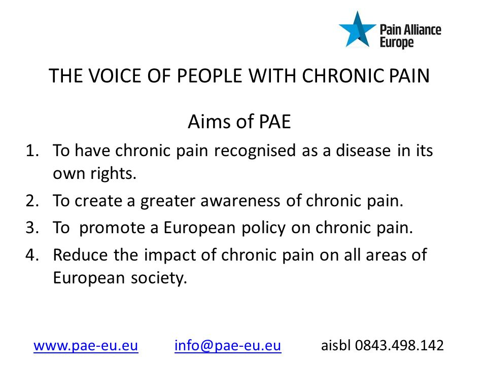 THE VOICE OF PEOPLE WITH CHRONIC PAIN Achieved by; 1.Working closely with other stakeholders.