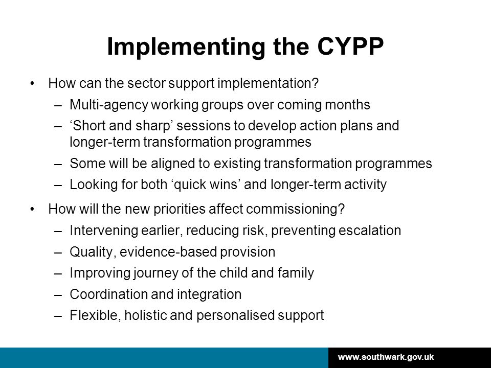 www.southwark.gov.uk Implementing the CYPP How can the sector support implementation? –Multi-agency working groups over coming months –'Short and shar