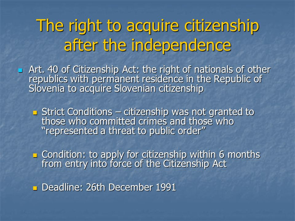 Becoming Illegal Those who did not apply for citizenship (or were refused it) fell under the jurisdiction of the Aliens Act Those who did not apply for citizenship (or were refused it) fell under the jurisdiction of the Aliens Act BUT: Art.