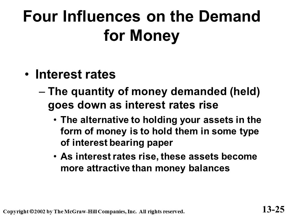 Four Influences on the Demand for Money Interest rates –The quantity of money demanded (held) goes down as interest rates rise The alternative to hold