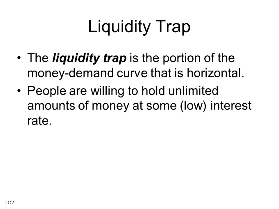 Liquidity Trap The liquidity trap is the portion of the money-demand curve that is horizontal. People are willing to hold unlimited amounts of money a