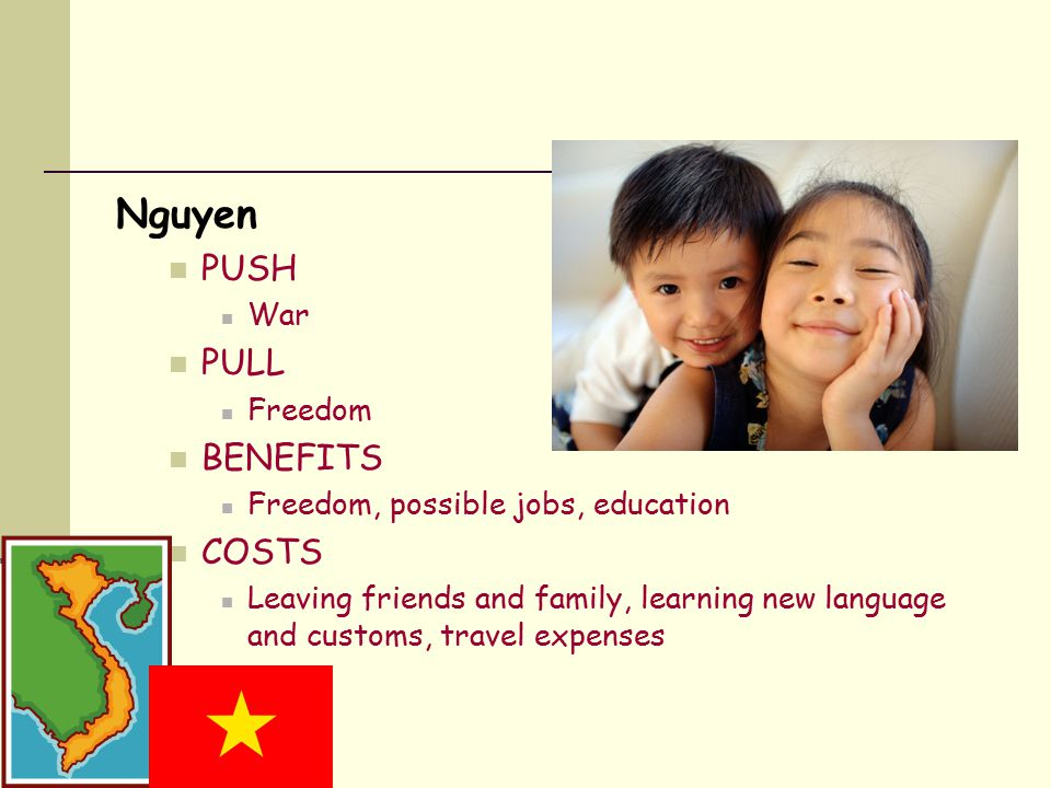 Nguyen PUSH War PULL Freedom BENEFITS Freedom, possible jobs, education COSTS Leaving friends and family, learning new language and customs, travel expenses