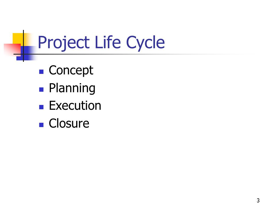 3 Project Life Cycle Concept Planning Execution Closure