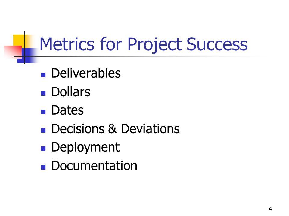 4 Metrics for Project Success Deliverables Dollars Dates Decisions & Deviations Deployment Documentation