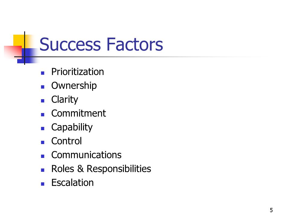 5 Success Factors Prioritization Ownership Clarity Commitment Capability Control Communications Roles & Responsibilities Escalation
