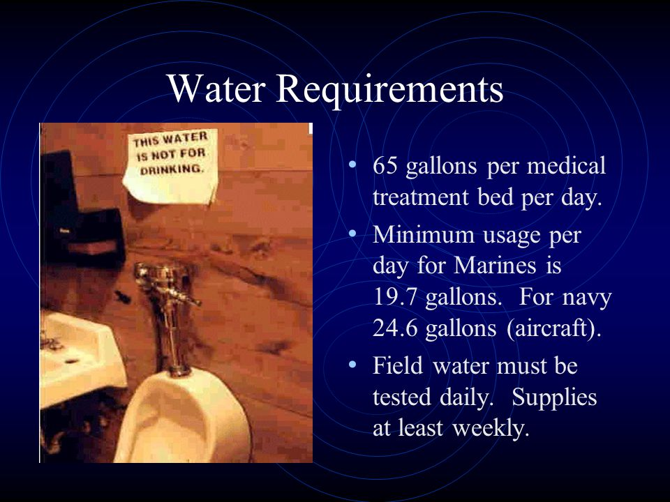 Water Requirements 65 gallons per medical treatment bed per day.