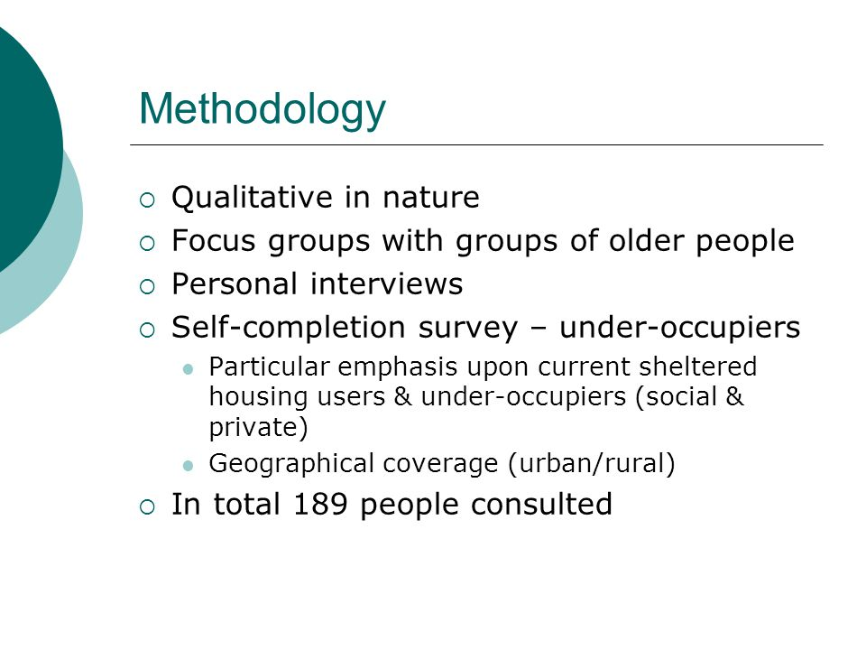 Older Lesbian Gay Bisexual & Transgender people  Housing needs not dissimilar to straight people + additional need for personal safety & location within an 'accepting' community  Also additional support to avoid isolation  Access to mainstream housing for older people but recognition of specific needs relating to sexuality (e.g.