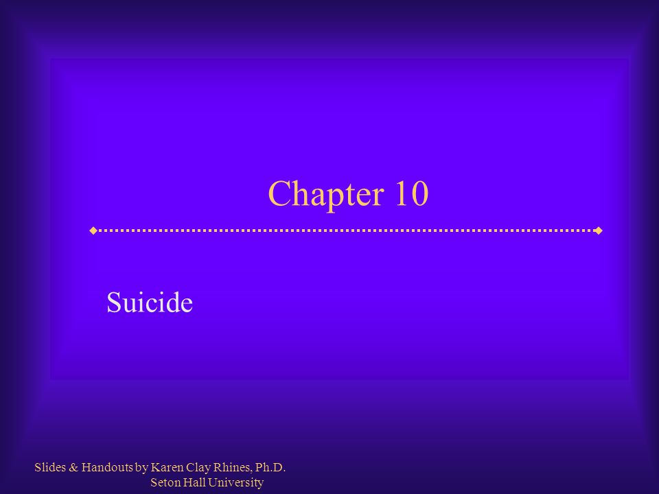 Slide 2 Suicide  Suicide is a major health problem in the world It ranks among the top 10 leading causes of death There are about 31,000 suicides per year in the U.S.