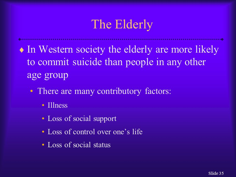 Slide 35 The Elderly  In Western society the elderly are more likely to commit suicide than people in any other age group There are many contributory factors: Illness Loss of social support Loss of control over one's life Loss of social status