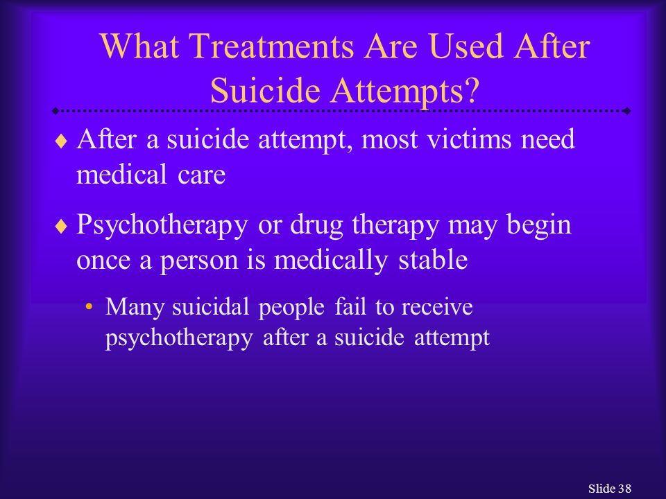 Slide 38 What Treatments Are Used After Suicide Attempts.