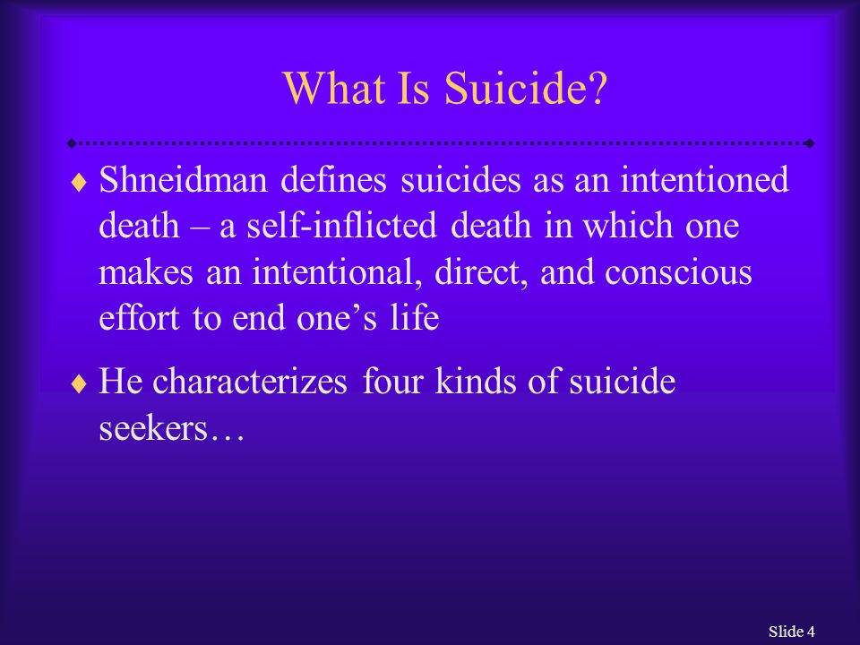 Slide 35 The Elderly  In Western society the elderly are more likely to commit suicide than people in any other age group There are many contributory factors: Illness Loss of social support Loss of control over one's life Loss of social status