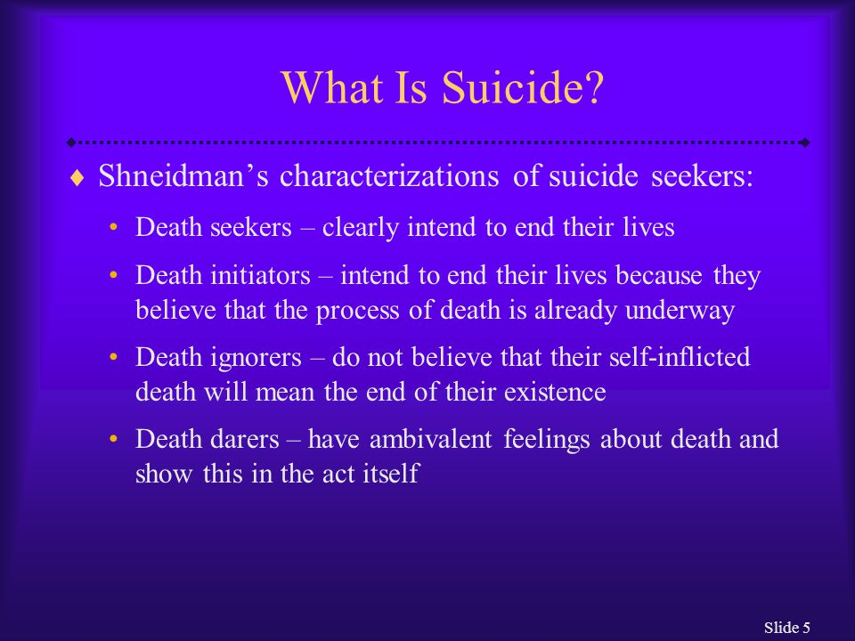Slide 26 Underlying Causes of Suicide: The Sociocultural View  Egoistic suicides are committed by people over whom society has little or no control  Altruistic suicides are committed by people who are so well integrated into their society that they intentionally sacrifice their lives for its well-being  Anomic suicides are those committed by people whose social environment fails to provide stable structures to support and give meaning to life A change in an individual's immediate surroundings can also lead to this type of suicide