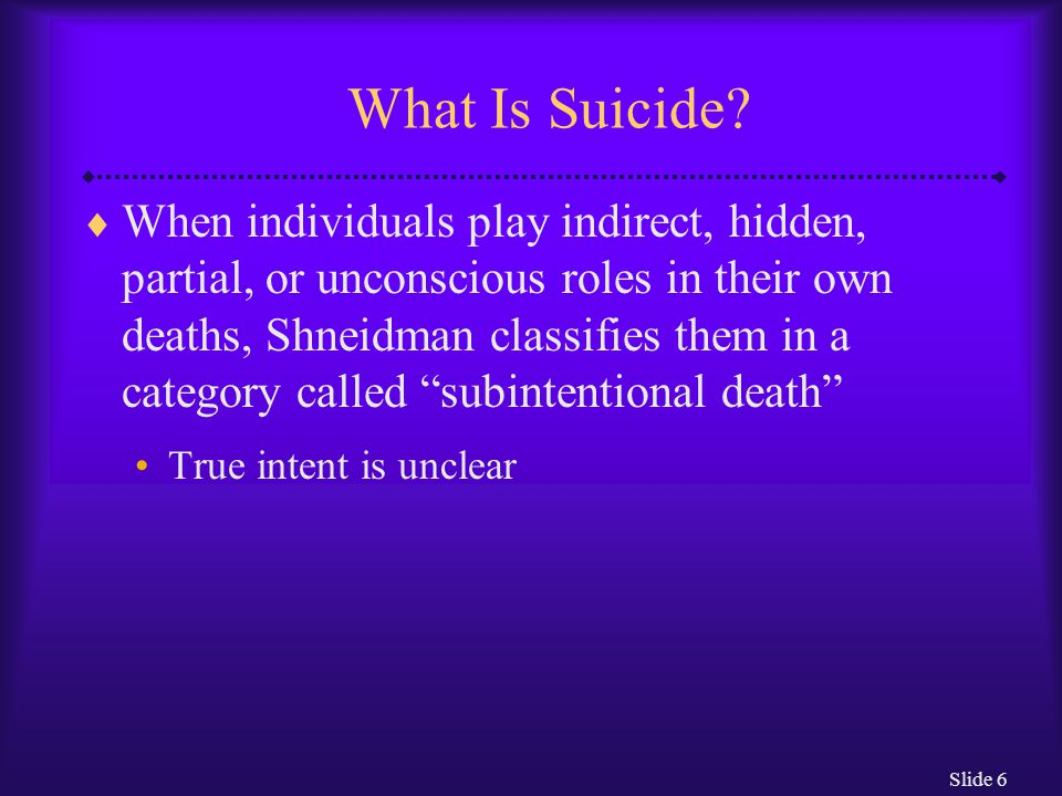Slide 27 Underlying Causes of Suicide: The Biological View  Family pedigree and twin studies support the position that biological factors contribute to suicidal behavior For example, there are higher rates of suicide among the parents and close relatives of those who commit suicide than among nonsuicidal people  As always with this type of research, however, nonbiological factors such as shared environment must also be considered