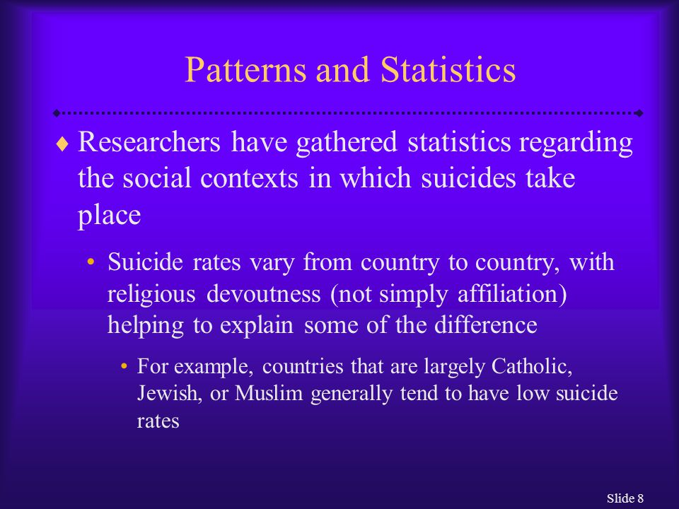 Slide 8 Patterns and Statistics  Researchers have gathered statistics regarding the social contexts in which suicides take place Suicide rates vary from country to country, with religious devoutness (not simply affiliation) helping to explain some of the difference For example, countries that are largely Catholic, Jewish, or Muslim generally tend to have low suicide rates