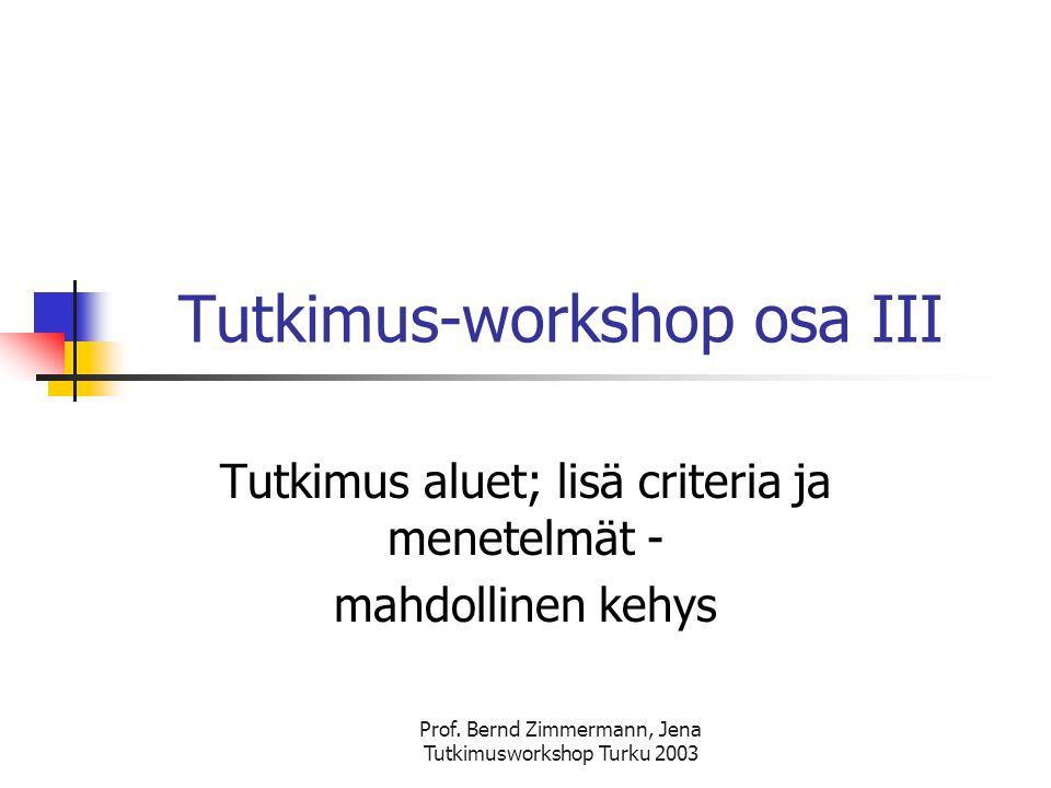 Prof. Bernd Zimmermann, Jena Tutkimusworkshop Turku 2003 Ohjelma