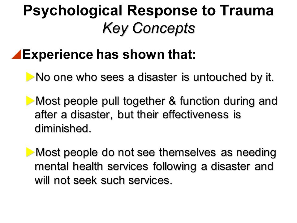 Role of Disaster Mental Health.