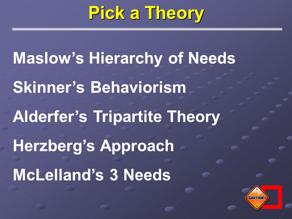 Pick a Theory Maslow's Hierarchy of Needs Skinner's Behaviorism Alderfer's Tripartite Theory Herzberg's Approach McLelland's 3 Needs
