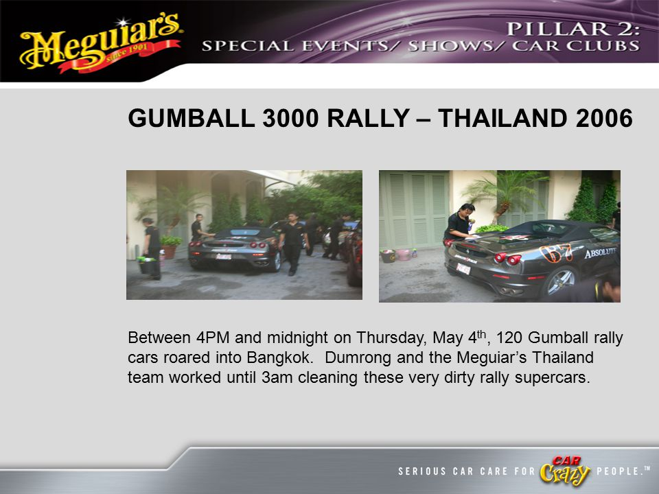 GUMBALL 3000 RALLY – THAILAND 2006 Between 4PM and midnight on Thursday, May 4 th, 120 Gumball rally cars roared into Bangkok.