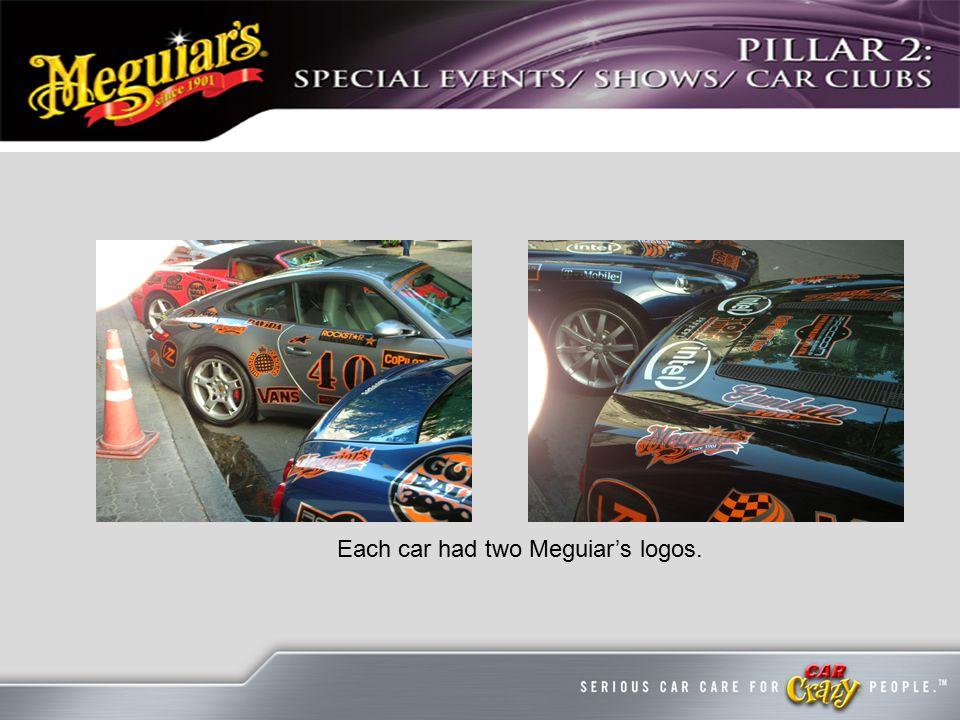 Each car had two Meguiar's logos.