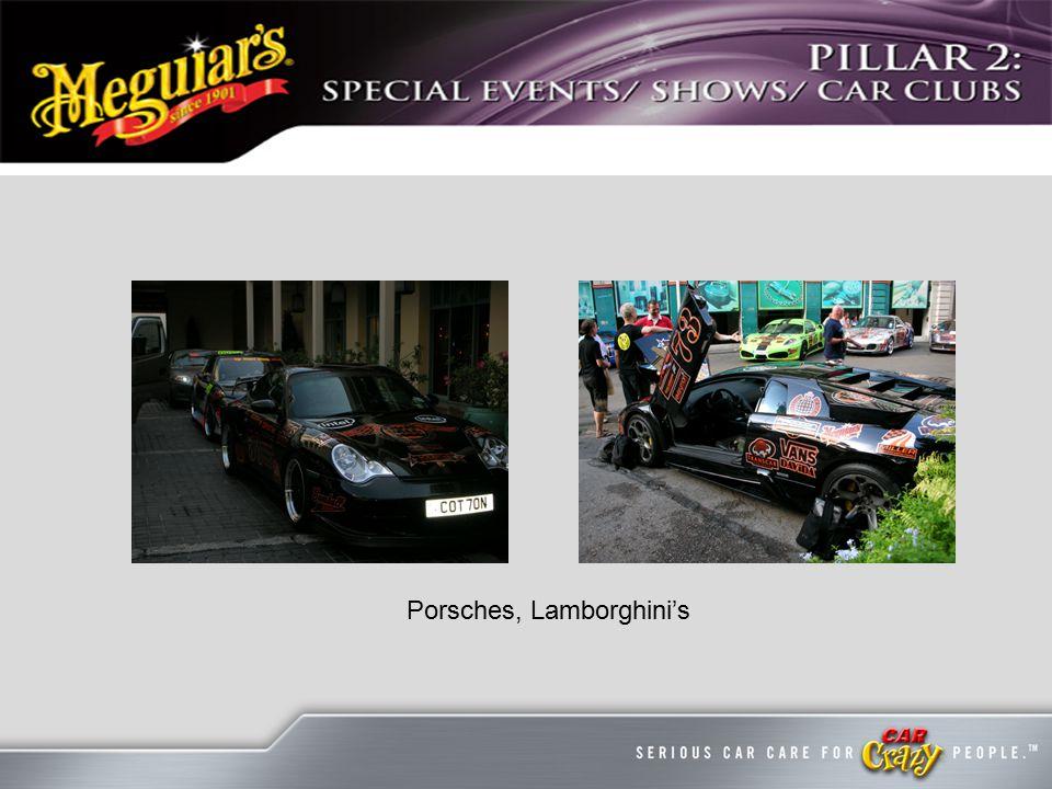 Porsches, Lamborghini's