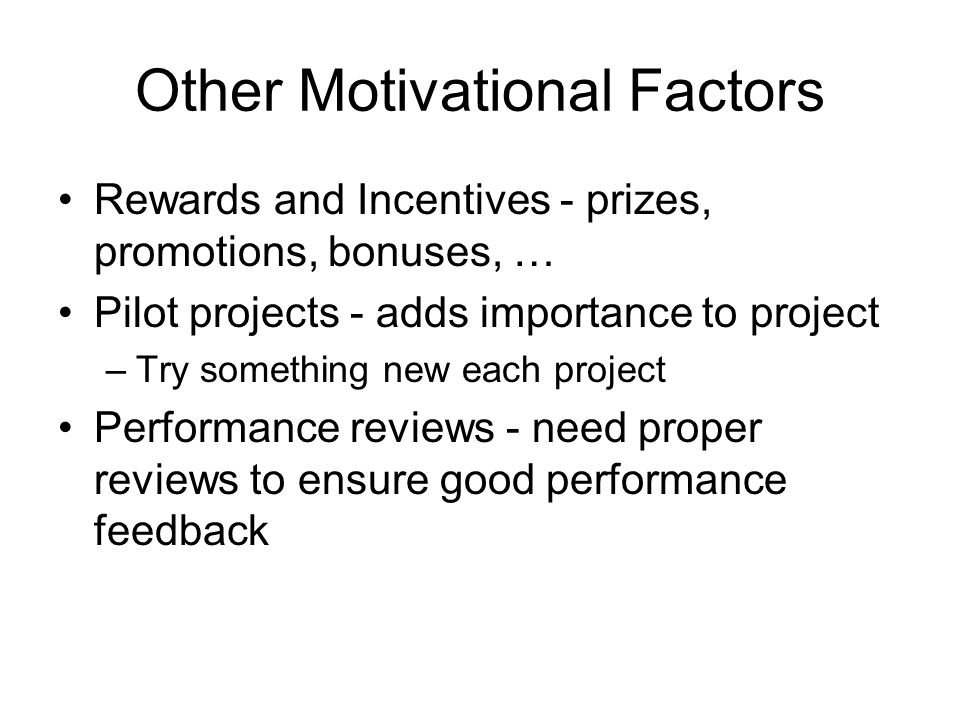 Other Motivational Factors Rewards and Incentives - prizes, promotions, bonuses, … Pilot projects - adds importance to project –Try something new each