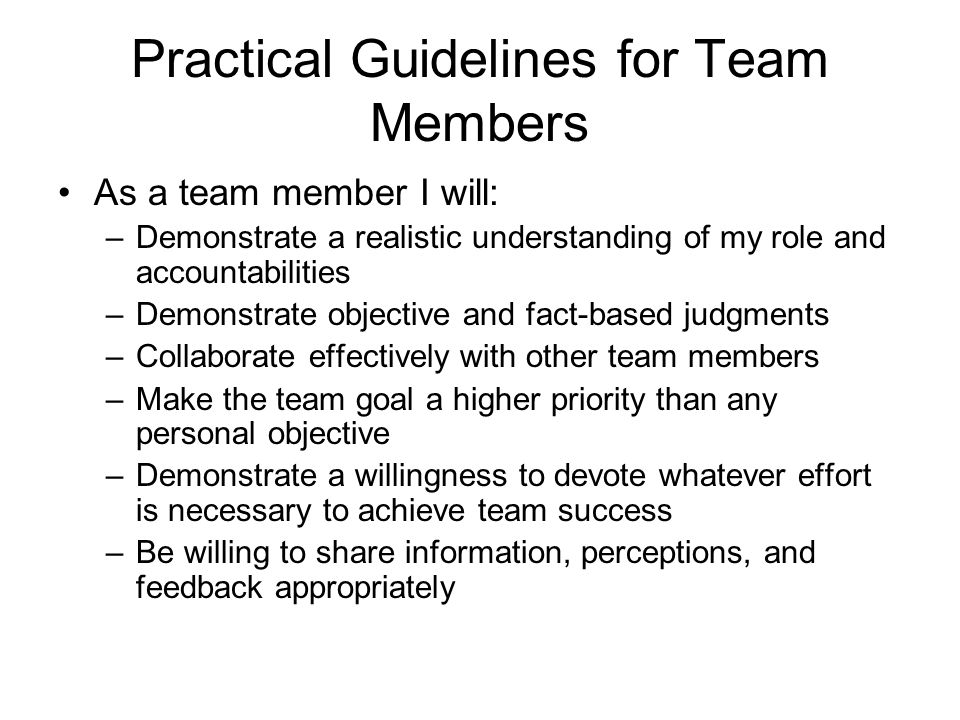 Practical Guidelines for Team Members As a team member I will: –Demonstrate a realistic understanding of my role and accountabilities –Demonstrate obj
