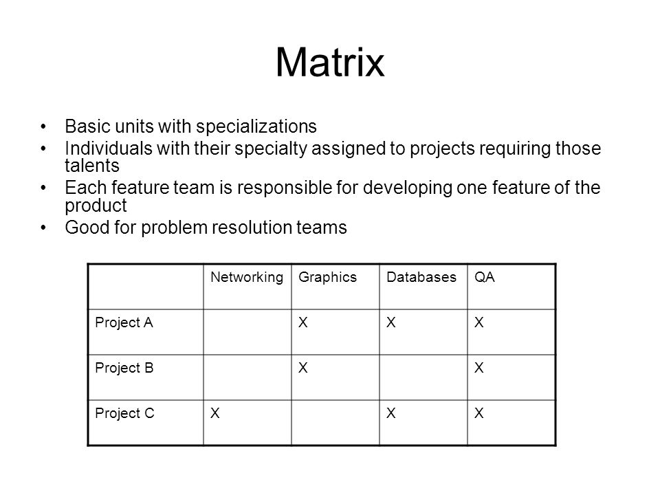 Matrix Basic units with specializations Individuals with their specialty assigned to projects requiring those talents Each feature team is responsible