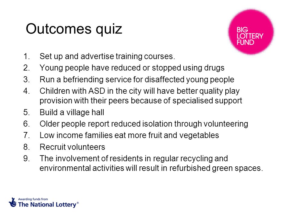 Outcomes quiz 1.Set up and advertise training courses.