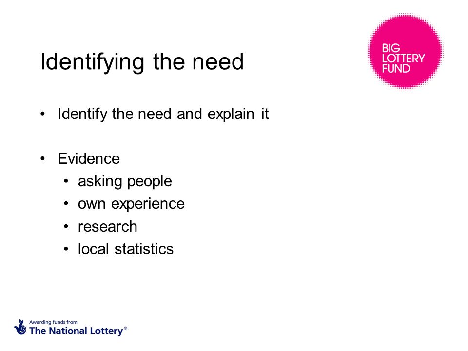 Identifying the need Identify the need and explain it Evidence asking people own experience research local statistics