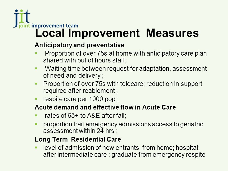 Local Improvement Measures Anticipatory and preventative  Proportion of over 75s at home with anticipatory care plan shared with out of hours staff;  Waiting time between request for adaptation, assessment of need and delivery ;  Proportion of over 75s with telecare; reduction in support required after reablement ;  respite care per 1000 pop ; Acute demand and effective flow in Acute Care  rates of 65+ to A&E after fall;  proportion frail emergency admissions access to geriatric assessment within 24 hrs ; Long Term Residential Care  level of admission of new entrants from home; hospital; after intermediate care ; graduate from emergency respite