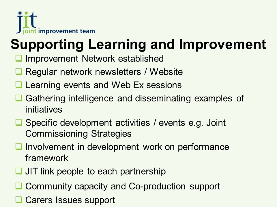 Supporting Learning and Improvement  Improvement Network established  Regular network newsletters / Website  Learning events and Web Ex sessions  Gathering intelligence and disseminating examples of initiatives  Specific development activities / events e.g.