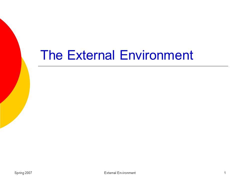 Spring 2007External Environment1 The External Environment