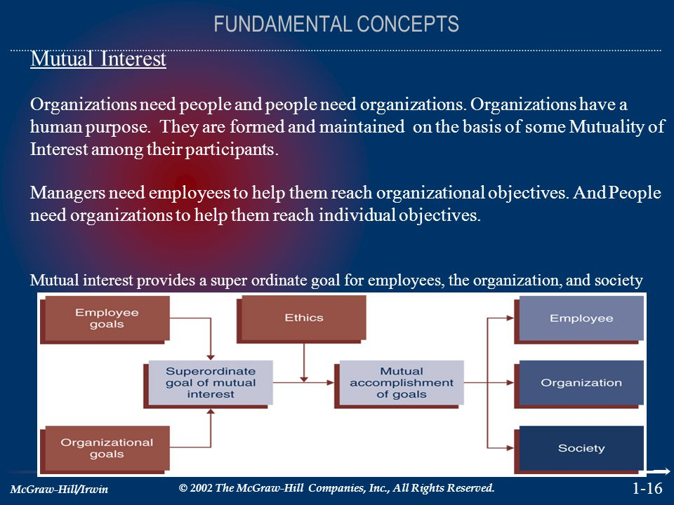 McGraw-Hill/Irwin © 2002 The McGraw-Hill Companies, Inc., All Rights Reserved. 1-16 FUNDAMENTAL CONCEPTS Mutual Interest Organizations need people and