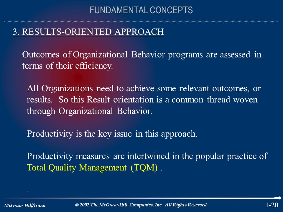 McGraw-Hill/Irwin © 2002 The McGraw-Hill Companies, Inc., All Rights Reserved. 1-20 FUNDAMENTAL CONCEPTS 3. RESULTS-ORIENTED APPROACH Outcomes of Orga