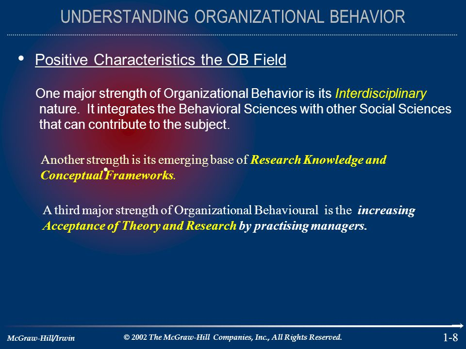 McGraw-Hill/Irwin © 2002 The McGraw-Hill Companies, Inc., All Rights Reserved. 1-8 UNDERSTANDING ORGANIZATIONAL BEHAVIOR Positive Characteristics the