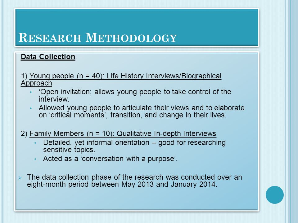 R ESEARCH M ETHODOLOGY Data Collection 1) Young people (n = 40): Life History Interviews/Biographical Approach 'Open invitation; allows young people to take control of the interview.