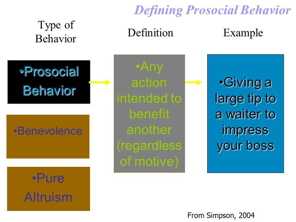 Type of Behavior Defining Prosocial Behavior Prosocial BehaviorProsocial Behavior Benevolence Pure Altruism DefinitionExample Any action intended to b