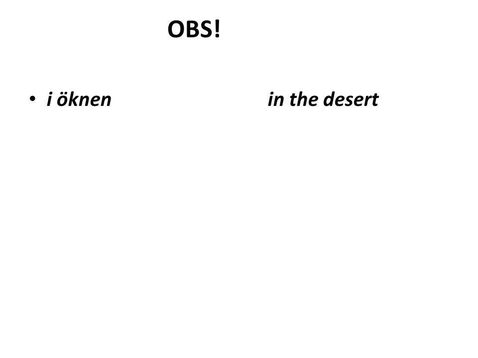 OBS! i öknenin the desert