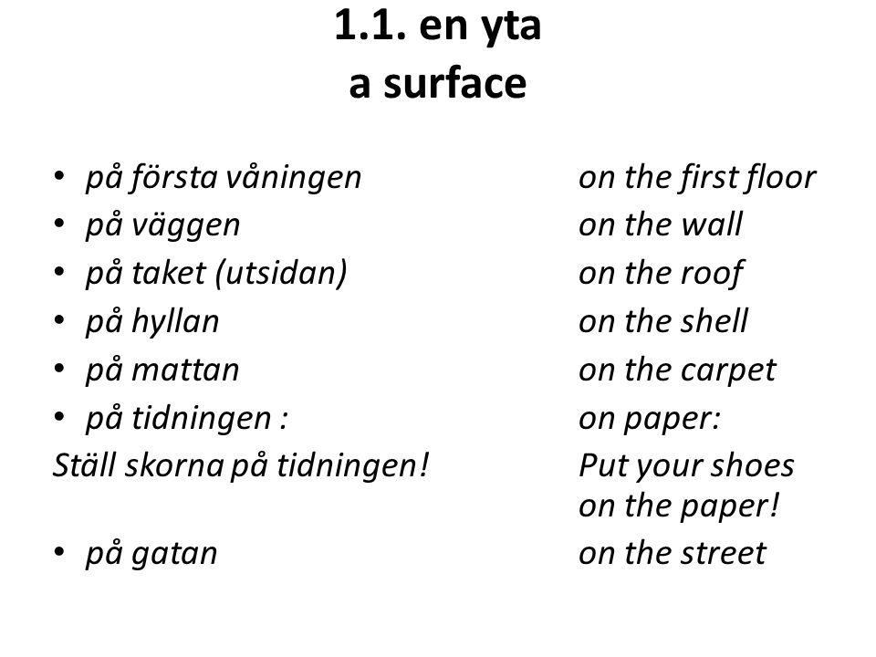 1.1. en yta a surface på första våningenon the first floor på väggenon the wall på taket (utsidan)on the roof på hyllanon the shell på mattanon the ca