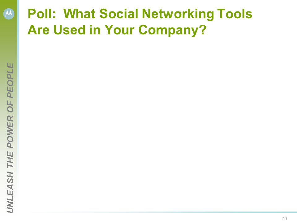 UNLEASH THE POWER OF PEOPLE 11 Poll: What Social Networking Tools Are Used in Your Company?