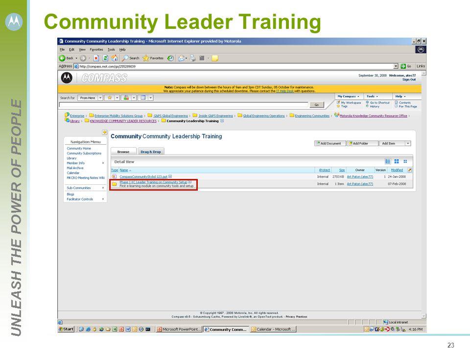 UNLEASH THE POWER OF PEOPLE 23 Community Leader Training